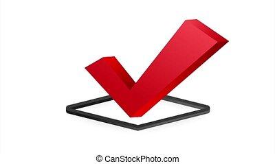 Checkmark. Red approved sticker on white background. stock illustration