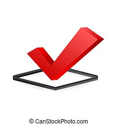 Checkmark. Red approved sticker on white background. Vector stock illustration.