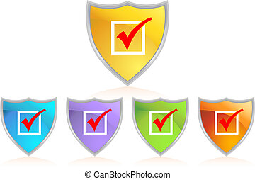 checkmark shield isolated on a white background.