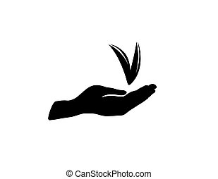 Checkmark sign in hand silhouette. Check mark approved icon
