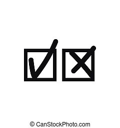 Checkmark to accept and refusal icon, simple style