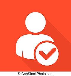 checkmark, usuario, icono