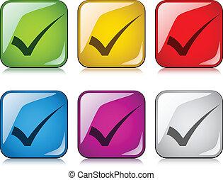 checkmarks, positivo, vetorial