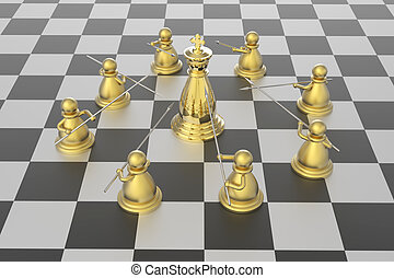 Checkmate - 3d model rendering of checkmate in chess...