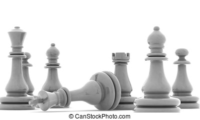 Checkmate! - Chess pieces with clipping path , 3d render