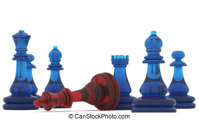 Checkmate - Chess pieces with clipping path , 3d render