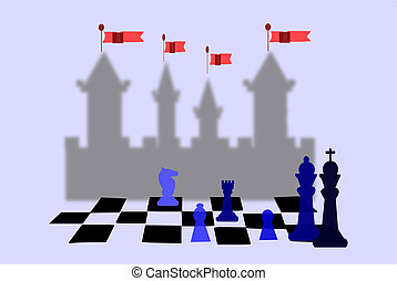 Checkmate - Chessboard with chess pieces. Castle in...
