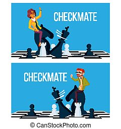 Checkmate Concept Vector. Business Man And Woman Make...