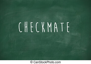 Checkmate handwritten on blackboard