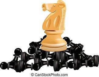 checkmate horse on blacks pedestrians