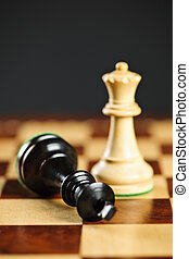 Checkmate in chess - Closeup of checkmate on king by queen...