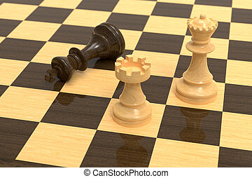 Checkmate on wooden board