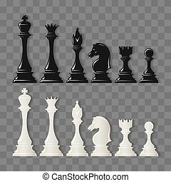 Checkmate pieces on transparent - Checkmate pieces. Black...