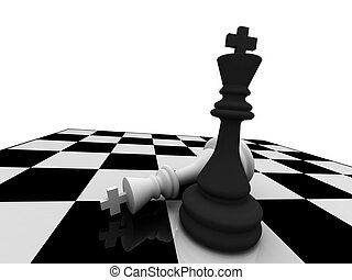 Checkmate. The black king win. High quality 3d render.