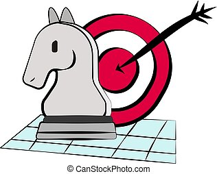 Checkmate with Knight & arrow vector or color illustration -...