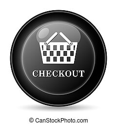 Checkout icon. Internet button on white background.
