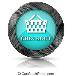 Checkout icon - Shiny glossy icon with white design on aqua...