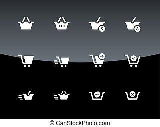 Checkout icons on black background.