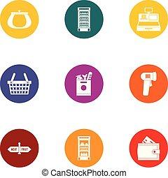 Checkout icons set, flat style