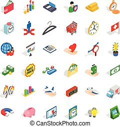 Checkout icons set, isometric style