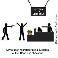 Checkout - Kevin regretted cheating on the twelve item...