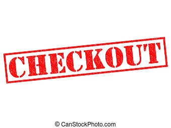 CHECKOUT red Rubber Stamp over a white background.