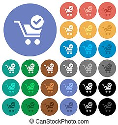 Checkout round flat multi colored icons