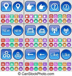 Checkpoint, Hand, Question mark, NEW, Printer, Wi-Fi, Gear, Arrow left, Like. A large set of multi-colored buttons. Vector