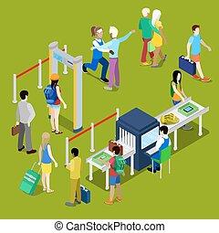 checkpoint , isometric , baggage., άνθρωποι , εικόνα , ουρά...