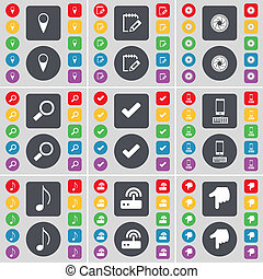 Checkpoint, Survey, Lens, Magnifying glass, Tick, Smartphone, Note, Router, Hand icon symbol. A large set of flat, colored buttons for your design.