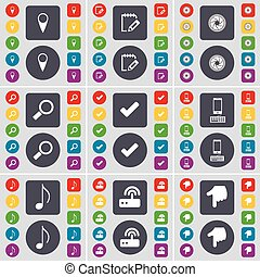 Checkpoint, Survey, Lens, Magnifying glass, Tick, Smartphone, Note, Router, Hand icon symbol. A large set of flat, colored buttons for your design. Vector
