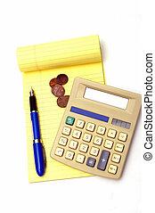 checks and balances - Coins, pen, calculator and notepas ...