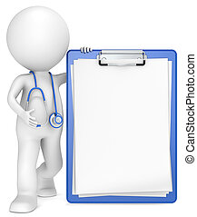 3D little human character The Doctor with a Clipboard. Blue and Blank for Copy Space. People series.