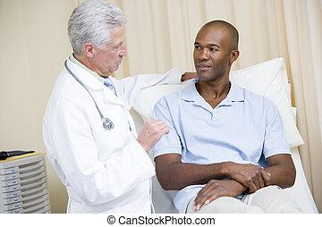checkup, egzamin pokój, doktor, udzielanie, człowiek
