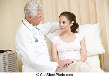 checkup, kobieta, pokój, doktor, udzielanie, egzamin