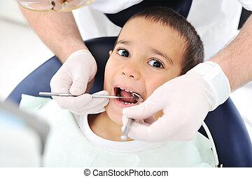 checkup, serie, släkt, foto, tandläkare, tänder