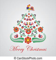 checo, árbol, estilizado, moravien, diseño, ornamentos,...
