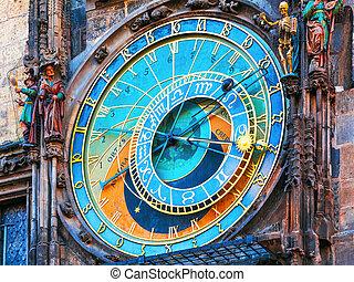 checo, astronómico, praga, república, reloj