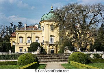 checo, buchlovice, castillo, república, parque