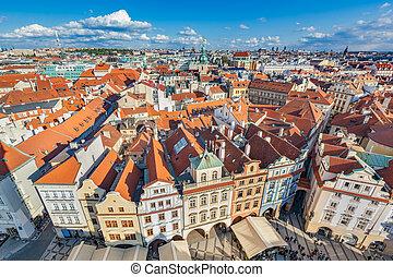 checo, houses., techo, praga, tradicional, vivienda,...