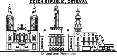 checo, illustration., cityscape, república, señales, vector...