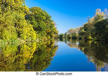 checo, otoño, río, república, ohre