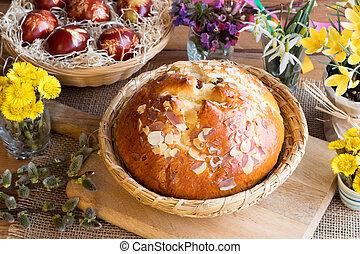 checo, pascua, pastel, cruz, tradicional, caliente, mazanec,...