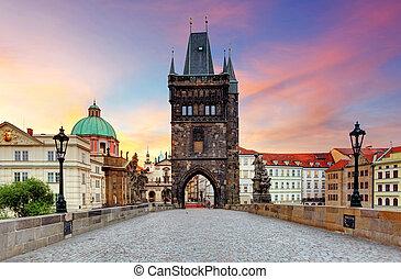 checo, praga, charles, -, república, puente