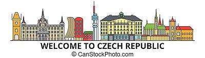 checo, señales, silueta, república, vector, banner., delgado, urbano, viaje, línea, plano, cityscape, iconos, perfil de ciudad, contorno, illustrations.