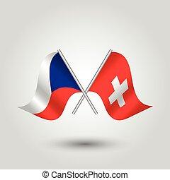 checo, suizo, -, palos, símbolo, vector, república, suiza, dos, plata, banderas, cruzado