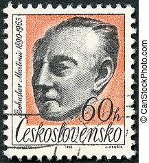 checoslovaquia, -, hacia, 1965:, un, estampilla, impreso, en, checoslovaquia, exposiciones, bohuslav, martinu, (1890-1959), compositor, hacia, 1965