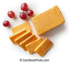 Cheddar cheese isolated on white background from top view