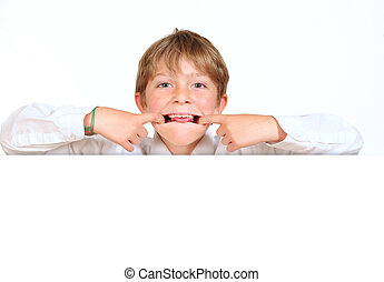 Boy making funny faces.