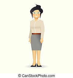 Cheeky caucasian woman in business suit posing. Simple standing.